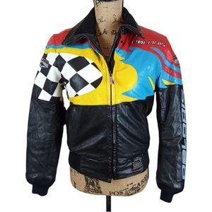 Vintage Polaris Leather Racing Moto Jacket